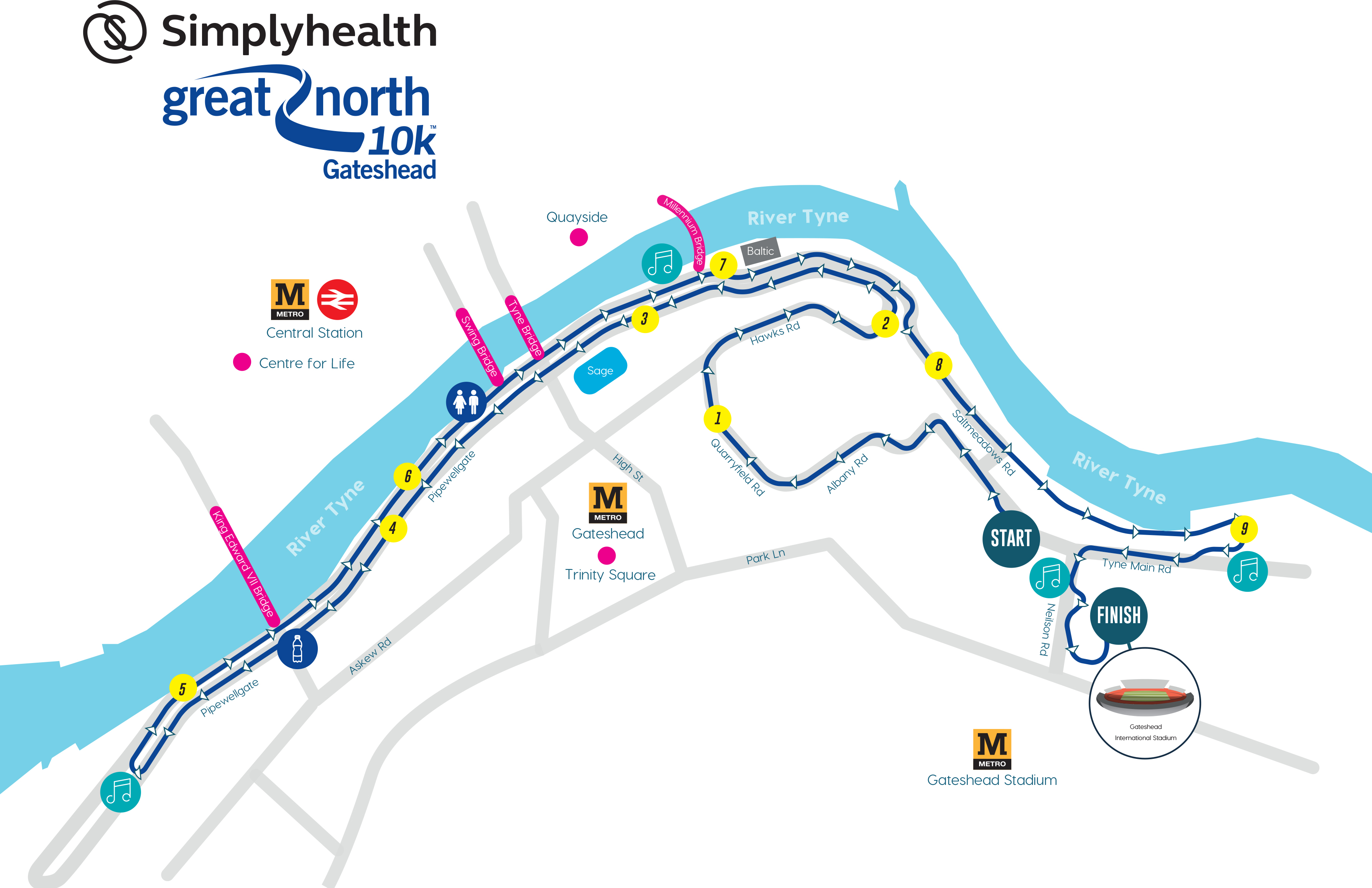 Great North 10k run course 2019