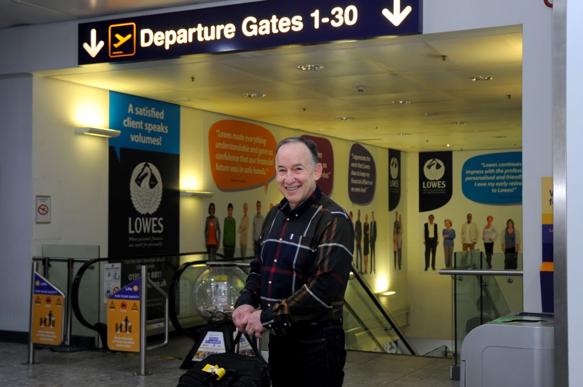 Richard Swart in Newcastle International Airport's departure lounge