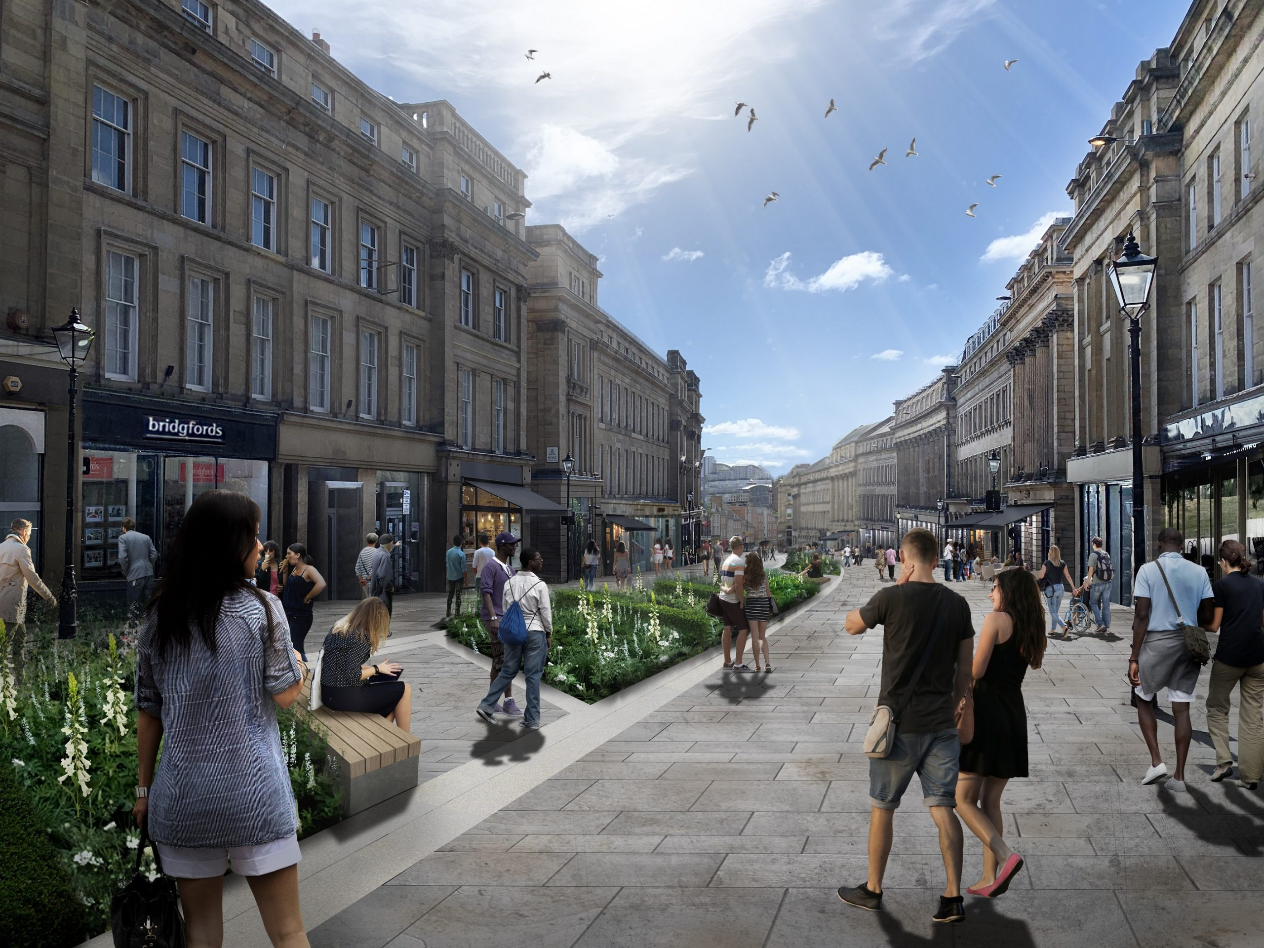 Long pedestrianised street, running through the middle are green bushes. The building running up the sides of the street are tall, old sandstones. The image is partially augmented to show what it could look like when transformation is finished.