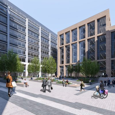 CGI image of development. On the right a beige block building with lots of large glass windows, trees stand in the foreground