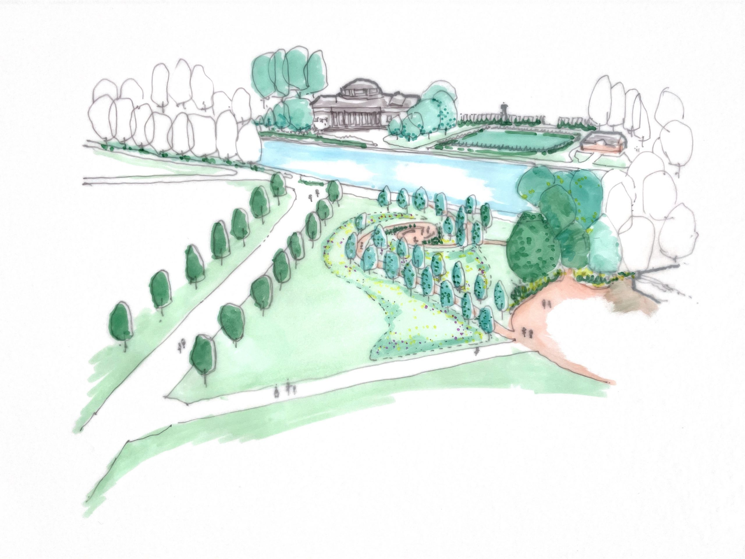 Artist sketch of Exhibition Park with winding path lined by trees as and large pond and Wylam Brewery in the background
