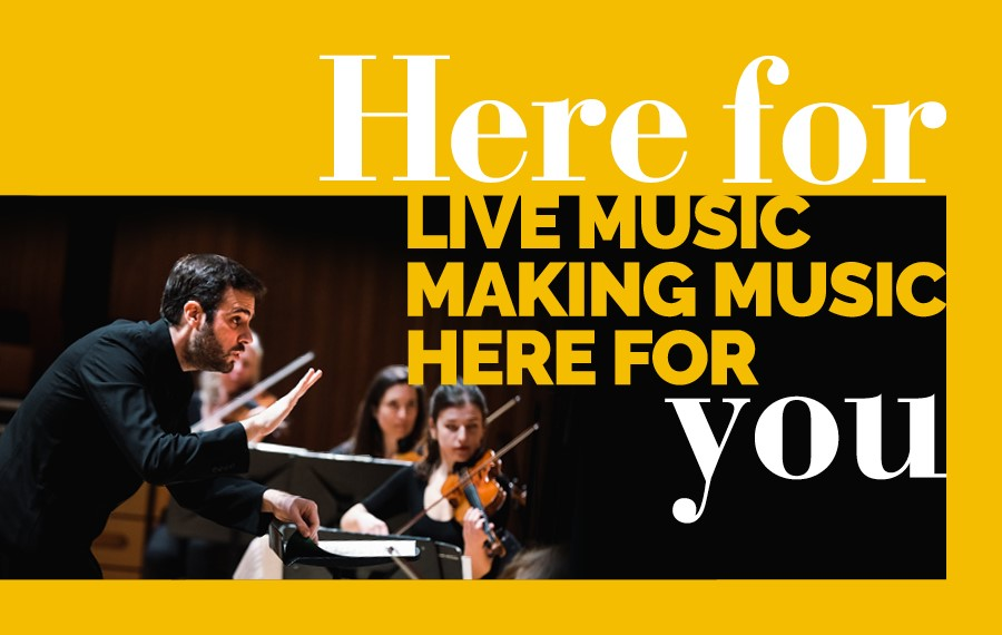 Graphic reading: Here for live music, making music, here for you